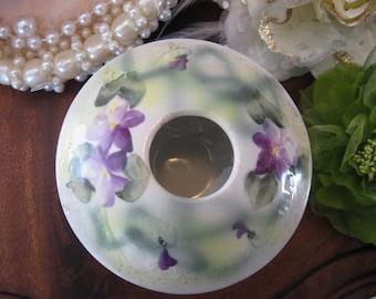 Vintage Ornate Porcelain Hand Painted Hair Receiver white purple green VIOLETS Flowers Cabriole Legs c1950 wlv Team v team
