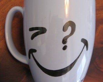 Vintage Smiley Face Will You Blue Stoneware Mug Artist Signed High Fired One of a Kind Can Be Used for Soup Coffee Tea Question Mark