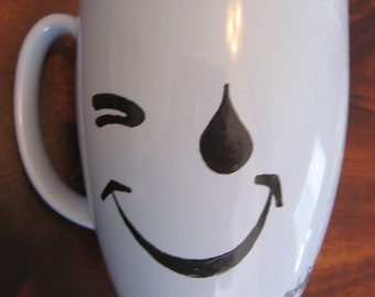 Vintage Smiley Face Crying Eyes Blue Stoneware Mug Artist Signed High Fired One of a Kind Can Be Used for Soup Coffee Tea Tear drop