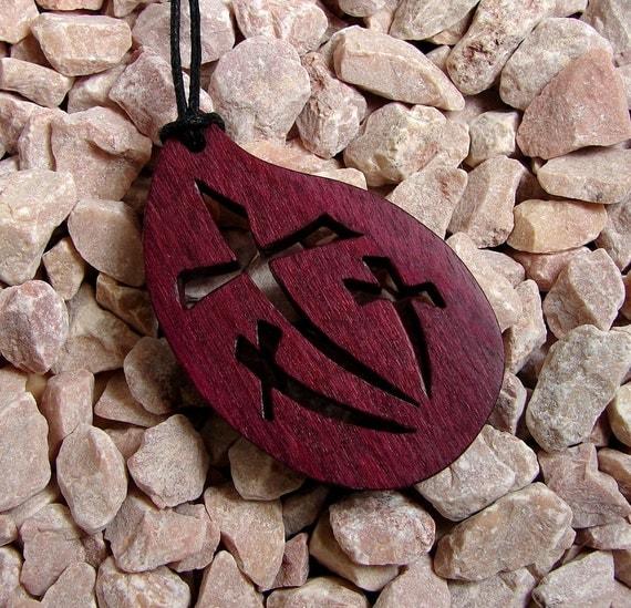 Cross Pendant / 3 Crosses / Exotic Purple Heart Wood