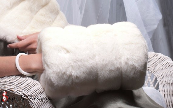Super Size faux fur muff hand warmer Bride's Winter Wedding  Available in winter white, ivory, cream or black grooved faux fur