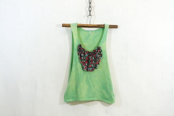 Green Hand Dyed Bib Top S M