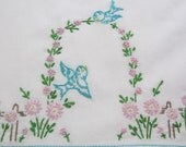 Pillowcase Vintage Unused Standard Size Hand Embroidered