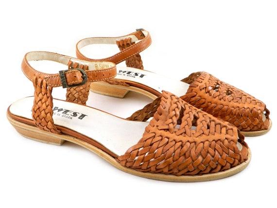 Vintage 9 West Woven Tan Leather Sandals Ankle Strap Low Heel Peep Toe sz 8.5