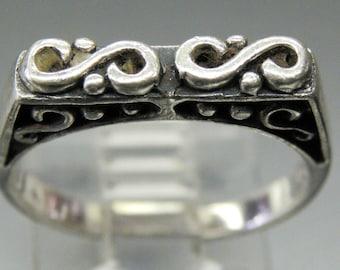 Ornate S Design Carved  Sterling Silver Vintage Ring