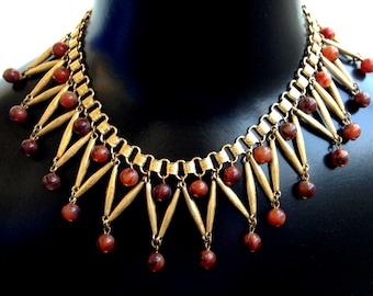 Stunning Art Deco Egyptian Revival Bakelite Ornate Brass Book Chain Vintage Necklace