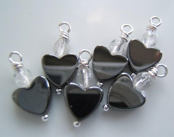 6 - Handmade Dangles-Charms with 8mm Hemalyke Hearts and Czech Beads