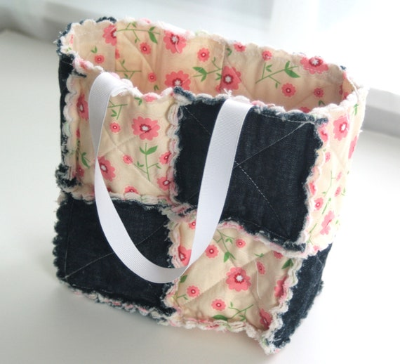 Rag Patchwork Bag in Pink Flowers on a Tan Background and Blue Denim - Reversible