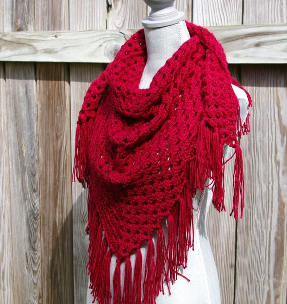 Shawl Triangle Scarf in Cranberry Red Crochet