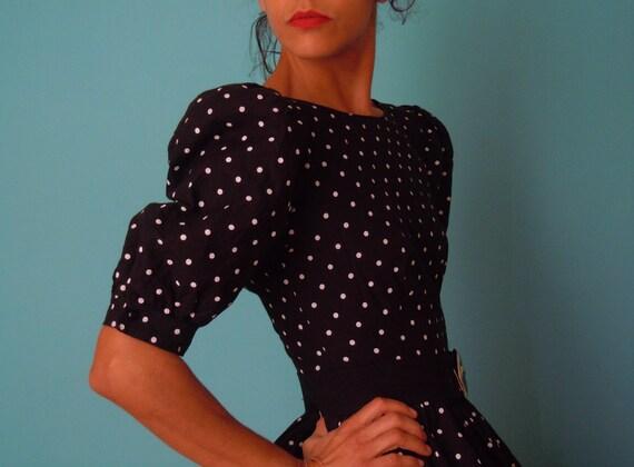 vintage 50's dream black and white polka dot  dress