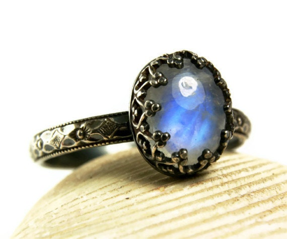 Moonstone Ring, Sterling Silver, Natural Rainbow Stone, Sister Ring, Custom Jewelry-made to order in your size