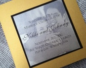 "6"" Square Metallic Wedding Program Booklet with Photos and Mounted Wording"