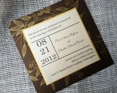 5.5 Inch Square Invitation on Printed Metallic Card with RSVP and Envelopes