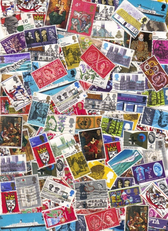 50 Vintage British postage stamps for your scrapbooking, mixed media and card making