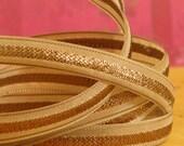 Woven -1 meter- Metallic cream ribbon- Copper with cream woven pattern