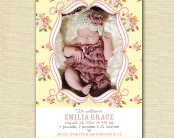 Shabby Style - Yellow  Roses - Photo Birth Baby Announcement - PRINTABLE ANNOUNCEMENT DESIGN