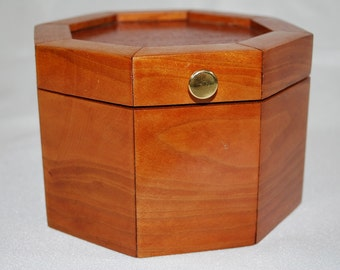 Treasure Jewelry Box, Handmade Wood, Cherry Lacewood, Octagon TBOX-108