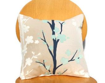 Decorative Pillows teal blue blossom beige cream navy oriental design cushion shams UK designer fabric  One 18 inch