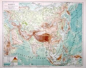 1894 asia original antique map print no. B