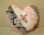 Vintage Chenille Pillow Valentine Heart Paris Apartment