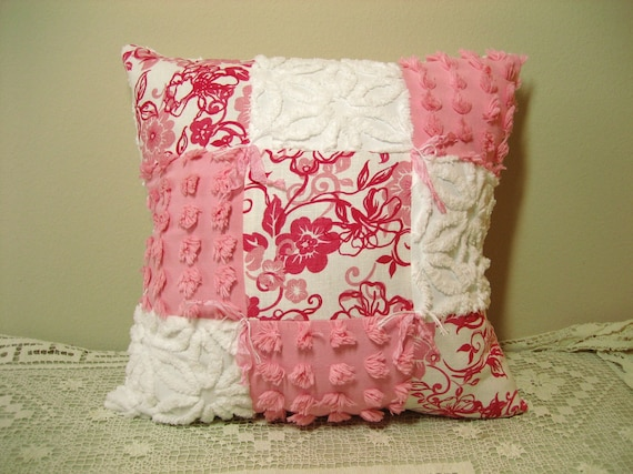 Summer Chic Pink and White Vintage Chenille and Linen Pillow