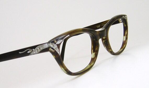 Vintage Olive Tortoise Horn Rim Cateye by VintageOpticalFrames