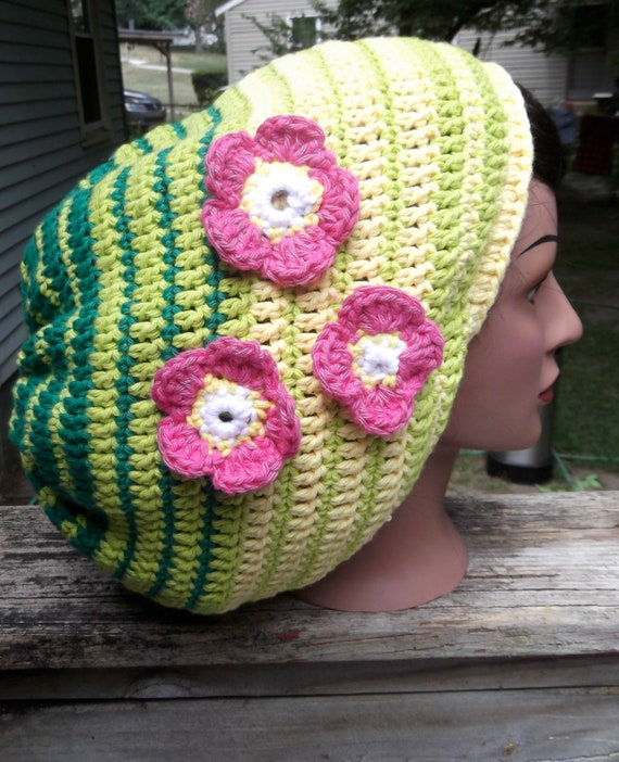 cotton three flower lime green regular green hot pink yellow hippie dreadlock rasta tam slouch hat