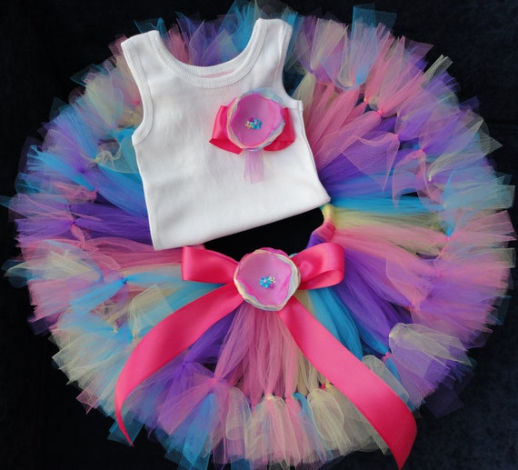 Baby Girls Birthday Tutu Dress Outfit, Rainbow Swirls Birthday Tutu Dress