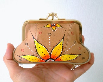 Handpainted Leather  Framed mini Purse,  Lotus Flower - Beige Nude Wallet