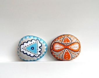 Painted Stones  Blue Orange Decor Set of 2