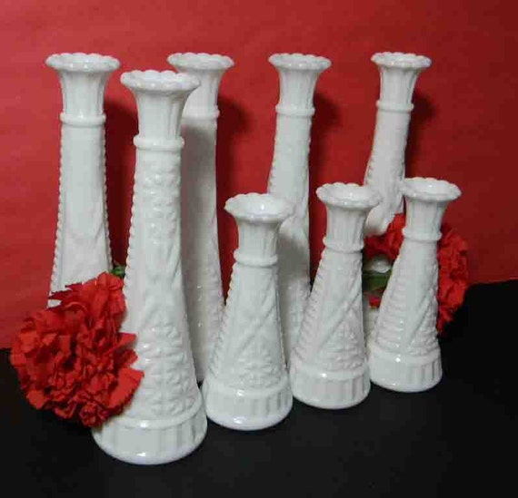 RESERVED for SOPHIE / 8 White Milk Glass Bud Vases, Milk Glass Candle Holders. Vintage Wedding Collection. 3471