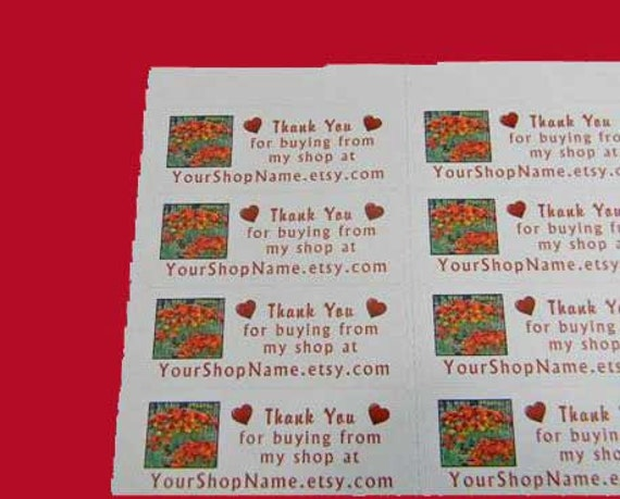 30 PERSONALIZED Thank You Labels. 1 Sheet of White 1-Inch Labels Printed in Color. 2897