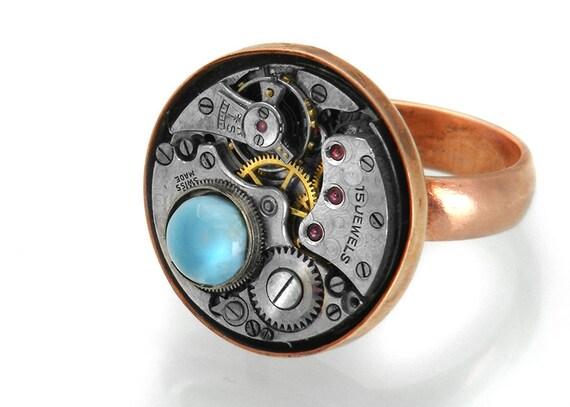 Steampunk Ring - Larimar Gemstone, Copper & Vintage Watch Mechanism - Size 7
