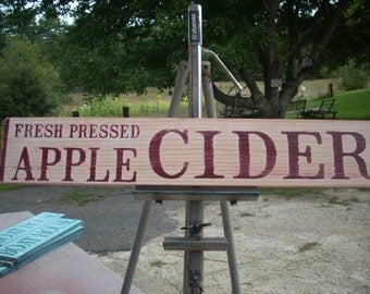 Fresh Pressed Apple Cider Shabby Primitive Wooden Sign Farm Orchard Fall Autumn Thankgiving