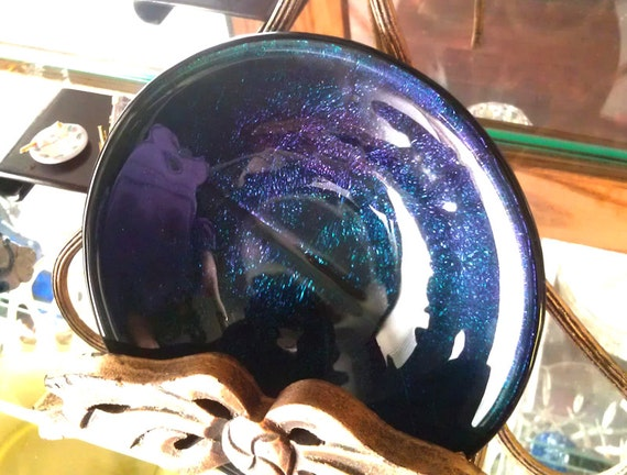 Art Dish Midnight Blue Iridescent Fused Glass - Home Decor