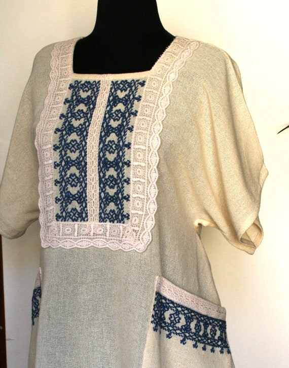 SALE! Embroidered Folk dress, Cottage chic dress, ivory summer dress, cream cotton sarafan, hand made dress,