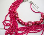 2 piece Pink wooden beaded multi strand necklace