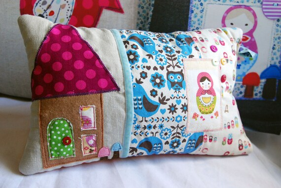SALE X Scented Pillow in Scandinavian Style Folk Art Fabric and a Little Gingerbread House Applique detail