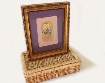 Antique Violet Perfume Label Matted & Framed