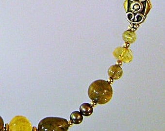 Vintage Glass Necklace.  Olivine Green.  Citrine Yellow.