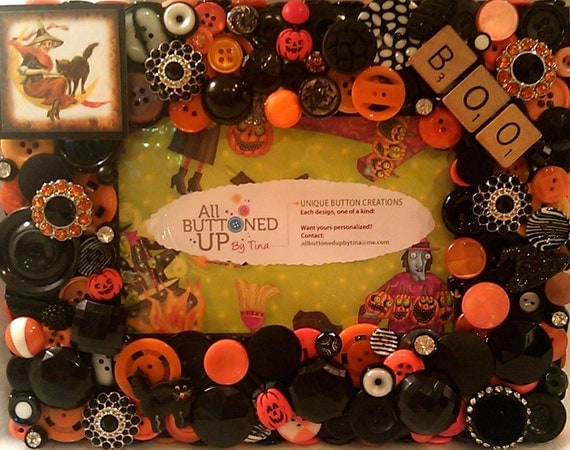 "HALLOWEEN Button Picture Frame in Orange & Black for 4""x6"" Photo"