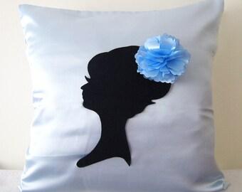 Elegant Cameo Light Blue And Black Pillow Cover. Powder Blue Decorative Cushion. Wedding Gift. Girls Room Decor