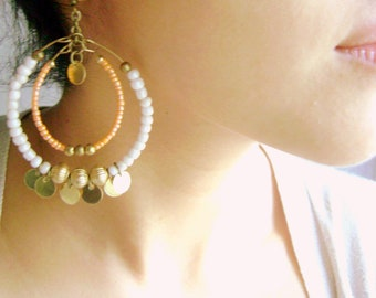 Boho chic - Hoop bohemian earrings coral peach ivory golden big boho style bohemian urban jewelry -  On the quiet