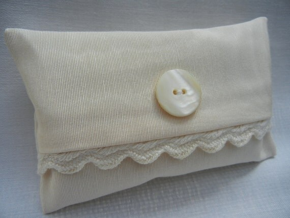 Pocket Tissue Cover -Tissue Holder - Ivory Satin - Shell Button - Tissues Included