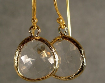 Crystal Glass Gold Earrings, Wedding Earrings, Gold Earrings, Bridesmaid Gifts (4603)