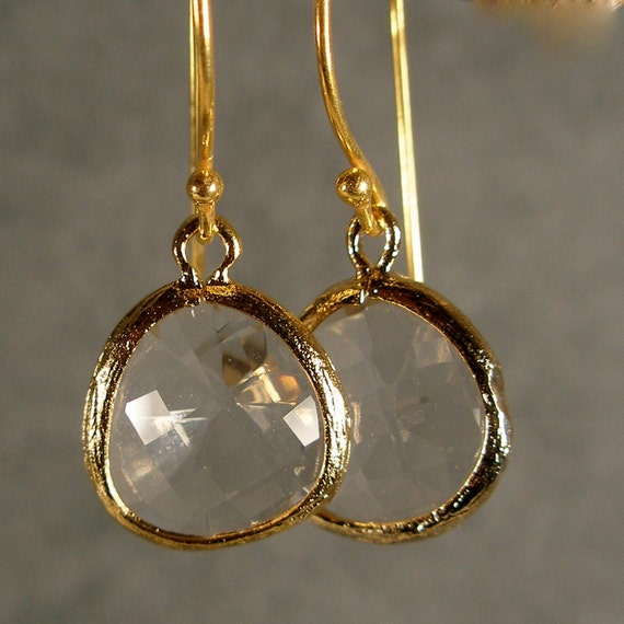 Crystal Glass Gold Earrings, Gold Bridesmaid Earrings, Wedding Earrings, Bridesmaid Jewelry (4623Wx)