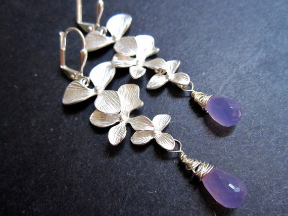 Silver Orchid Earrings Purple Lilac by MinouBazaar