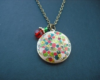 SALE - Nasturtium Floral locket necklace