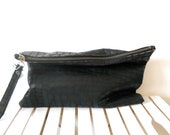 Over size leather clutch black - crocodile pattern