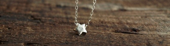 Tiny Silver Star Necklace in Sterling Silver - Dainty Star Necklace